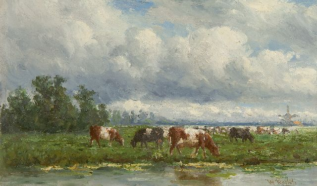 Roelofs W.  | Cattle in a landscape, oil on panel, 15.0 x 25.0 cm, signed l.r.