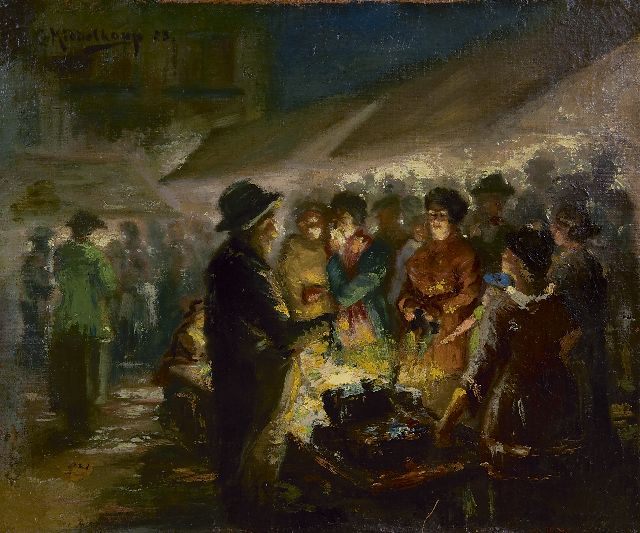 Middelkoop C.H.L.  | Marketplace at night, oil on canvas 33.0 x 39.9 cm, signed u.l. and dated '23