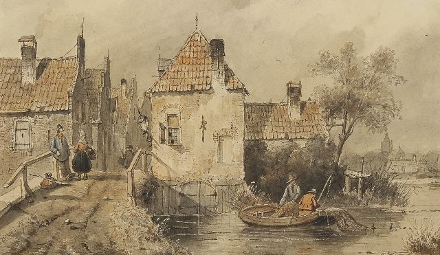 Charles Leickert | A Dutch town view with figures and fishermen, pen and ink and watercolour on paper, 18.4 x 30.6 cm, signed l.l.