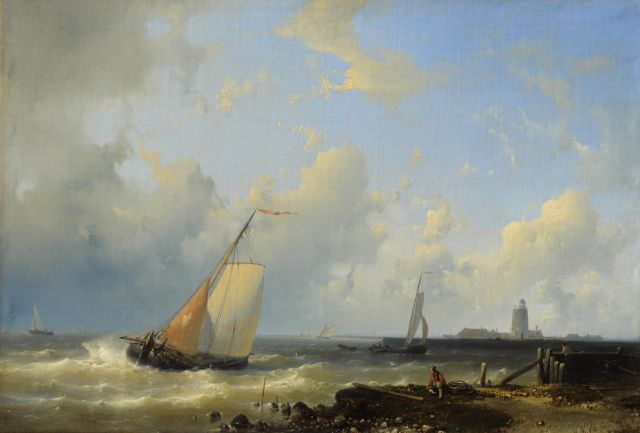 Abraham Hulk | Sailing ships in front of a harbour, oil on canvas, 37.5 x 54.4 cm, signed l.r.