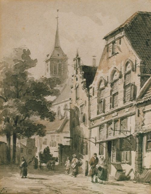 Adrianus Eversen | Street with pedestrians and a horse-drawn cart, sepia on paper, 18.5 x 14.5 cm, signed l.l. with monogram