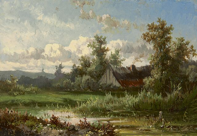 Paul Joseph Constantin Gabriel | Landscape near Oosterbeek, oil on panel, 9.8 x 14.1 cm, signed l.l. and painted ca. 1855