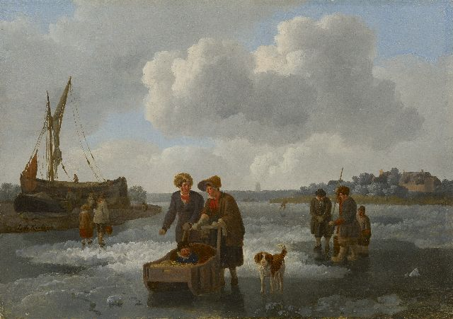 Koningh L. de | Fishermen and a sleigh on a frozen river, oil on panel 30.1 x 42.0 cm, signed l.c.
