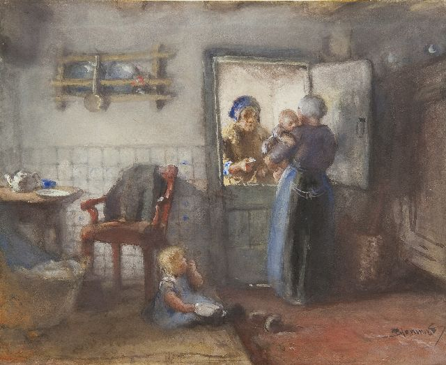 Bernard Blommers | Chatting at the kitchen door, watercolour on paper, 20.0 x 24.2 cm, signed l.r.