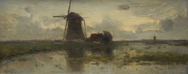 Paul Joseph Constantin Gabriel | Windmill in Dutch landscape at sunset, oil on canvas, 25.3 x 60.5 cm, signed l.l.