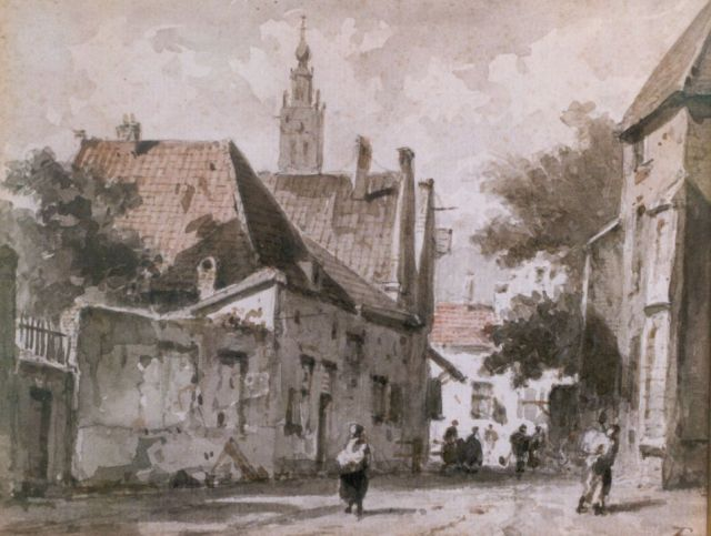 Adrianus Eversen | Townsfolk in a street, Haarlem, sepia on paper, 15.0 x 18.5 cm, signed l.r. with monogram