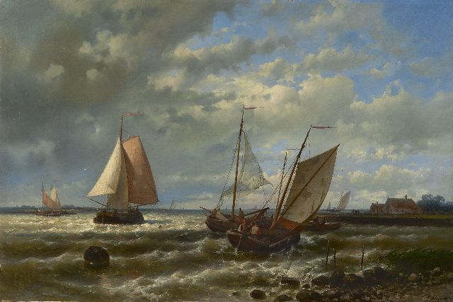 Abraham Hulk | At choppy waters, oil on canvas, 56.7 x 86.2 cm, signed l.r.