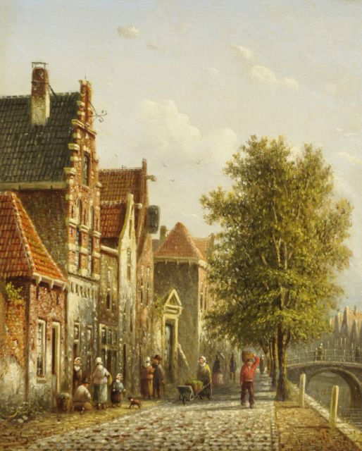 Johannes Franciscus Spohler | A sunny canal in a Dutch town, oil on panel, 19.4 x 15.8 cm, signed l.l.