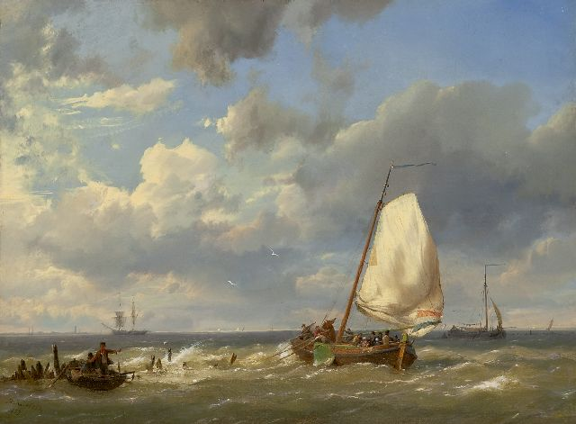 Hermanus Koekkoek | Fishing boats off the coast, oil on canvas, 31.9 x 43.5 cm, signed l.l. and dated 1859