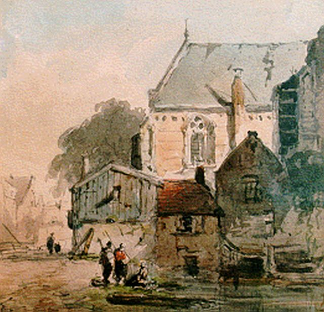 Eversen A.  | Figures by church, watercolour on paper 12.4 x 12.7 cm, signed l.r. with monogram