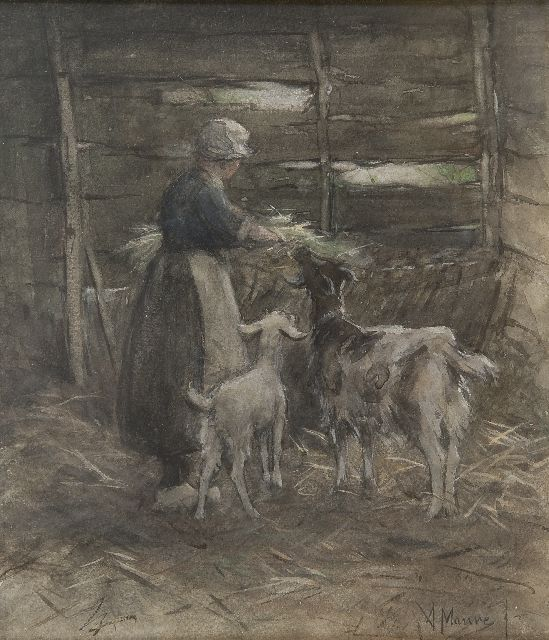 Anton Mauve | Feeding the goats, watercolour on paper, 25.6 x 22.2 cm, signed l.r.