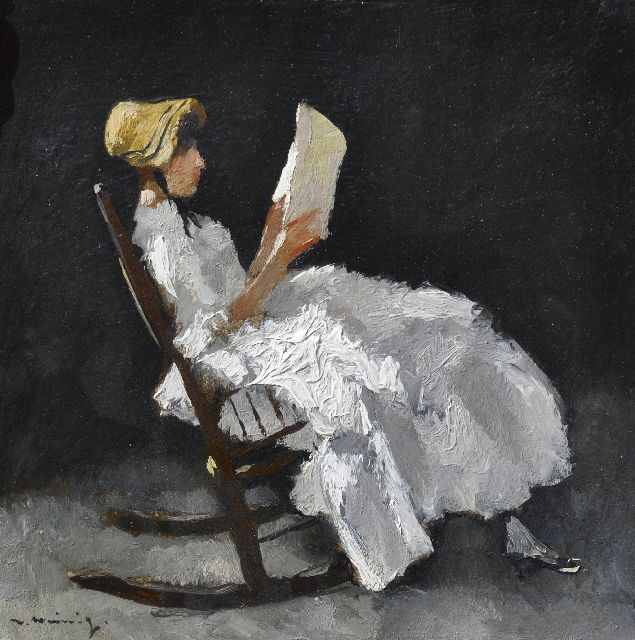 Walter Heimig | A young woman, reading in a rocking chair, oil on panel, 31.1 x 31.0 cm, signed l.l.