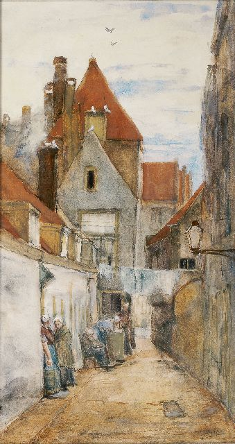 George Hendrik Breitner | An alley in Rotterdam, watercolour on paper, 51.8 x 27.8 cm, signed l.r. and painted ca. 1880