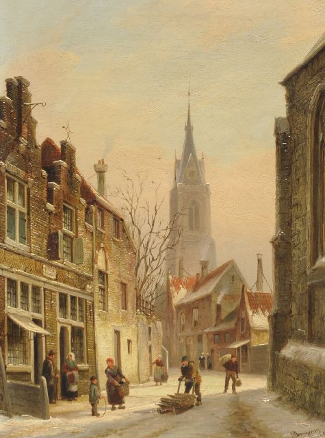 Cornelis Christiaan Dommelshuizen | A town view in winter, oil on canvas, 38.1 x 28.1 cm, signed l.r. 'C. Dommersen' and dated '82