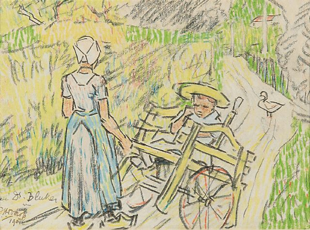 Toorop J.Th.  | Nurse with Fransje Elout and the domestic goose 'de Poele' in Domburg, coloured chalk on paper 11.0 x 15.1 cm, signed l.l. and dated 1907