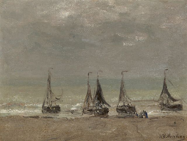 Hendrik Willem Mesdag | Five fishing boats on the beach, oil on canvas laid down on panel, 30.4 x 40.4 cm, signed l.r.