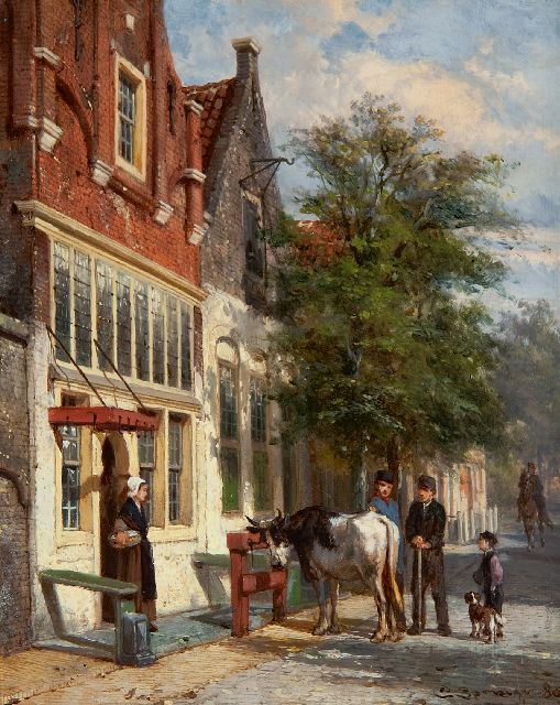 Springer C.  | Streetscene in Monnickendam, oil on panel 25.1 x 19.8 cm, signed l.r. and dated '80