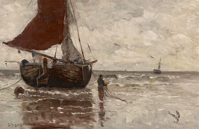 Munthe G.A.L.  | Moored fishing boat, oil on canvas 62.9 x 96.4 cm, signed l.l.