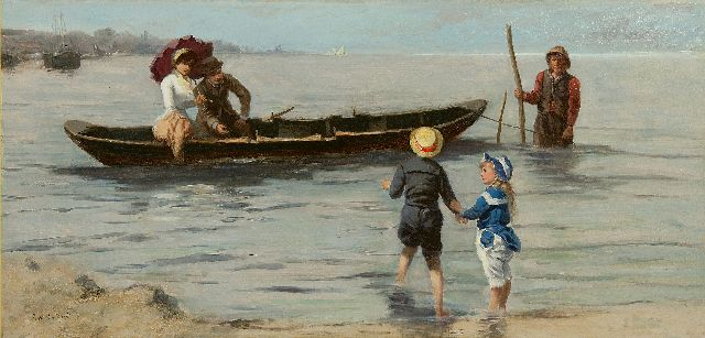 Johannes Marius ten Kate | Before the boat ride, oil on panel, 33.9 x 69.7 cm, signed l.l.