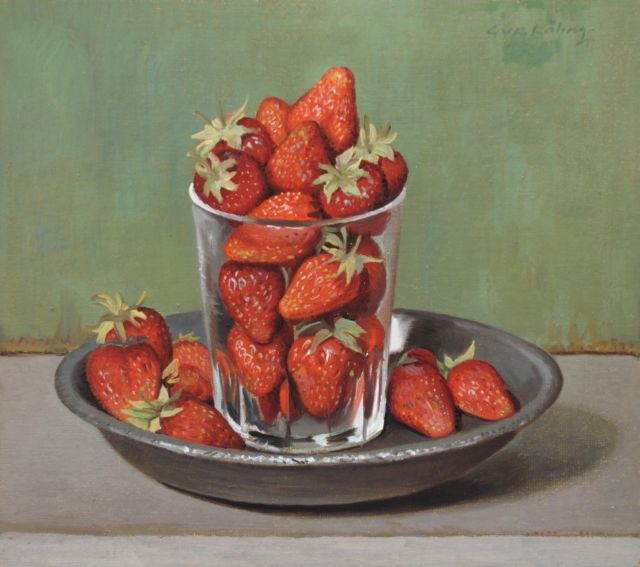 Röling G.V.A.  | Strawberries in a glass on a pewter plate, oil on board 24.7 x 27.5 cm, signed u.r.