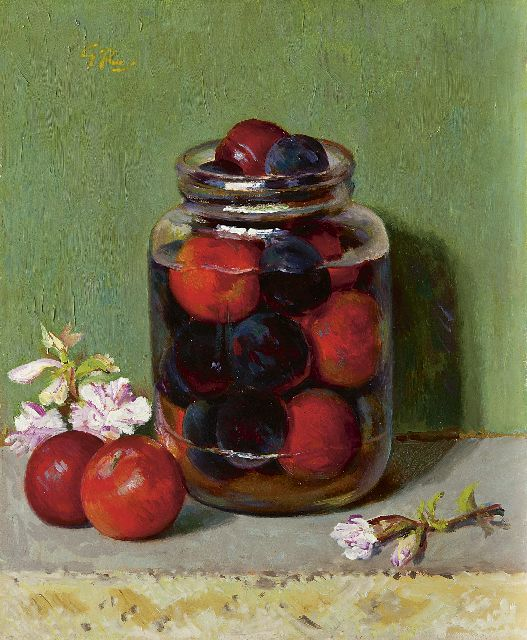 Gé Röling | Plums in a pot, oil on board, 30.1 x 25.0 cm, signed u.l. with initials and in full on the reverse