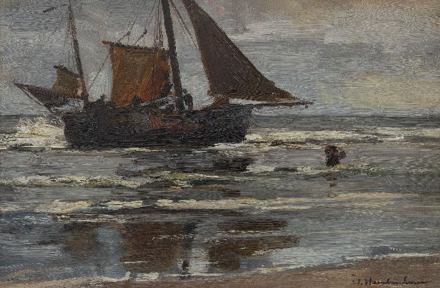 Hambüchen W.  | Bringing in the catch, Katwijk, oil on panel 27.9 x 42.2 cm, signed l.r.