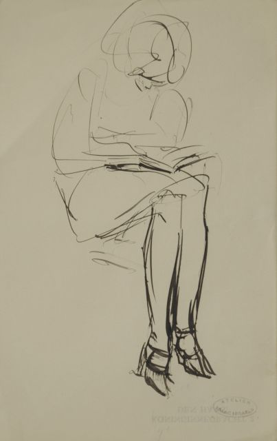 Israels I.L.  | Woman reading, pen and ink on paper, 21.1 x 13.4 cm