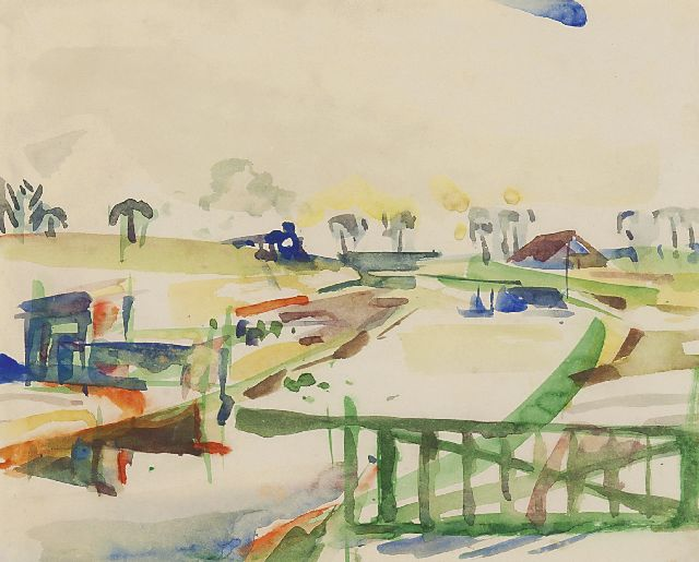 Jordens J.G.  | Landscape with a farm, watercolour on paper 22.5 x 28.0 cm, signed u.r. and dated 16-3-'53