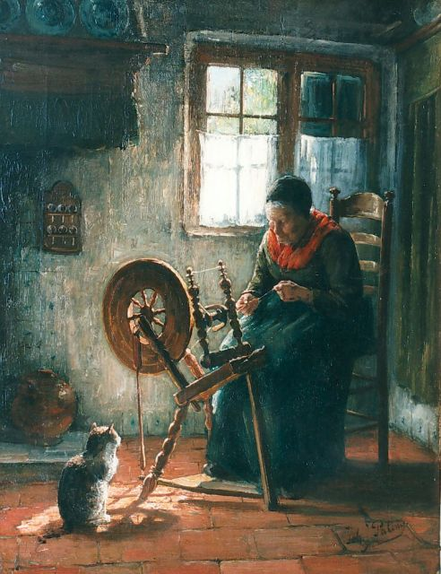 Johannes Jacobus Paling | A farmer's wife spinning, oil on canvas, 52.0 x 40.0 cm, signed l.r.