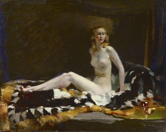 Rudolf Nissl | A female nude, oil on canvas, 57.3 x 72.2 cm, signed l.r.