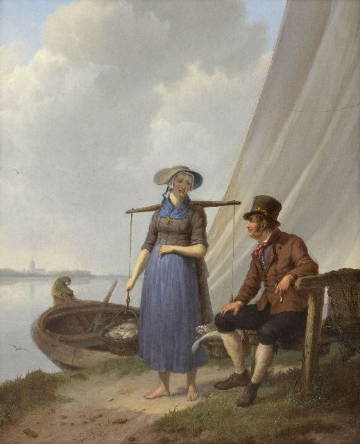 Koekkoek J.H.  | A fisherman and woman, chatting, oil on panel 33.1 x 26.9 cm, signed l.c. and dated 1834