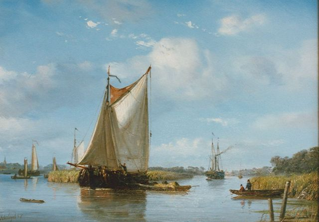 Petrus Paulus Schiedges | A river landscape in summer, oil on panel, 24.7 x 34.0 cm, signed l.l. and dated '57
