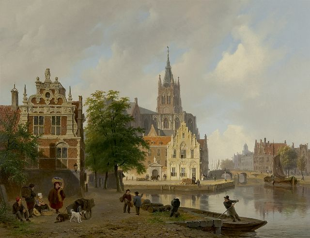 Bart van Hove | A view of the Oude Kerk in Delft, oil on panel, 42.4 x 54.9 cm, signed l.l. and dated 1841