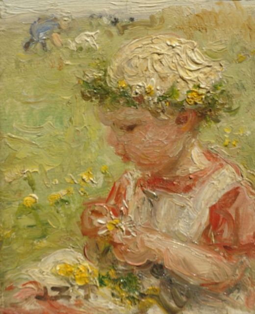 Jan Zoetelief Tromp | Little girl picking flowers, oil on panel, 9.3 x 7.3 cm, signed l.l. with initials and in full on the reverse