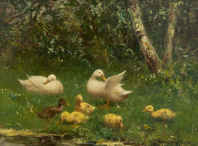 Constant Artz | Ducklings on a river bank, oil on panel, 18.1 x 24.5 cm, signed l.r.