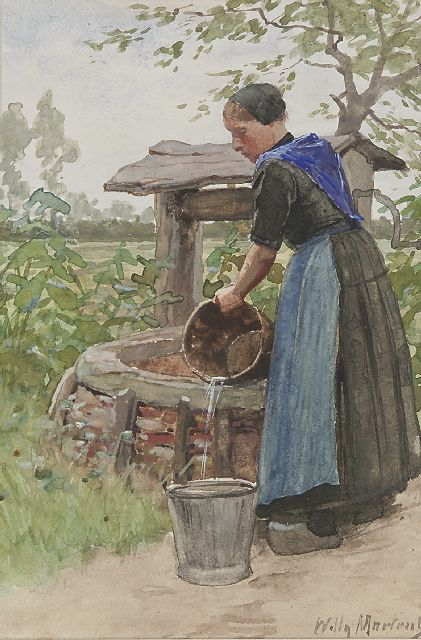 Willy Martens | At the well, watercolour on paper, 22.0 x 14.7 cm, gesigneerd r.o.