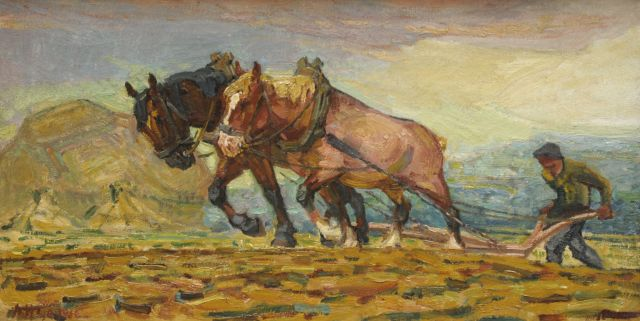 Adriaan Herman Gouwe | Plowing farmer with two horses, oil on canvas, 36.8 x 70.3 cm, signed l.l.