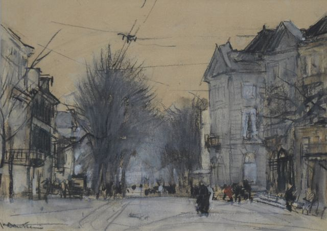 Floris Arntzenius | The Korte Voorhout, The Hague, chalk and watercolour on paper, 14.3 x 20.1 cm, signed l.l.