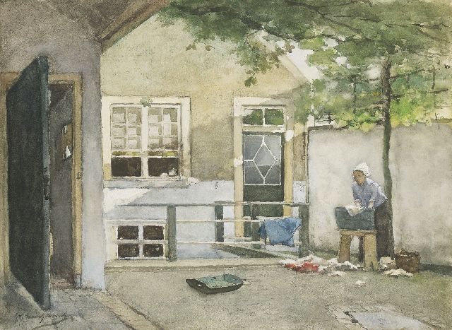 Jan Hendrik Weissenbruch | Washday; a view from the painter's studio located on the Kazernestraat in The Hague, black chalk, watercolour and gouache on painter's  board, 52.8 x 71.8 cm, signed l.l.