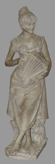 Andrei Cambi | The accordeonist (a pair with 15881 Country girl), marble, 132.0 x 54.0 cm, signed on the back and dated 'Firenze 1891'