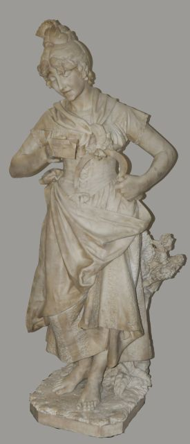 Andrei Cambi | The shepherdess ( a pair with the accordeonist), marble, 132.0 x 54.0 cm, dated 1890