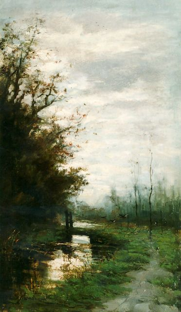 Frits Mondriaan | A landscape at dawn, oil on panel, 40.0 x 23.5 cm, signed l.l.