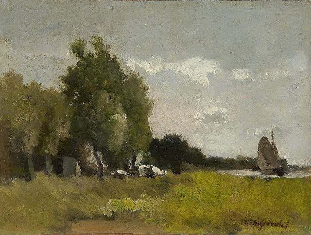 Jan Hendrik Weissenbruch | A polder landscape, oil on canvas laid down on panel, 23.8 x 31.7 cm, signed l.r. and painted ca. 1890-1900