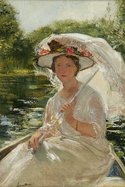 Simon Willem Maris | A portrait of Cornelia Maris-den Breejen with parasol, oil on canvas, 38.7 x 26.1 cm, signed l.l. and dated 1904