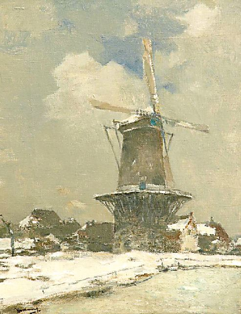 Ype Wenning | Flour mill De Hoop in Oudewater, in wintertime, oil on canvas, 53.6 x 41.5 cm, signed l.l.