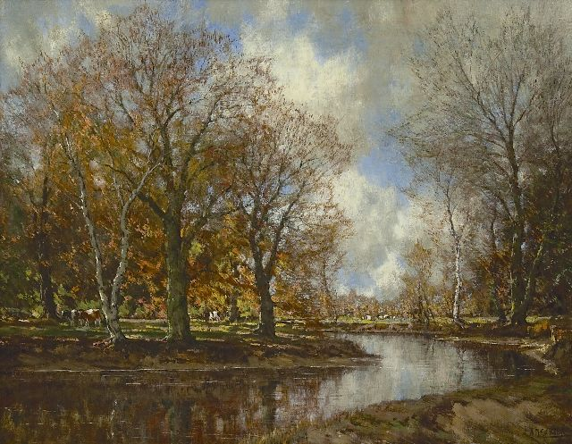 Arnold Marc Gorter | Cows under trees near a stream, oil on canvas, 70.2 x 90.5 cm, signed l.r.