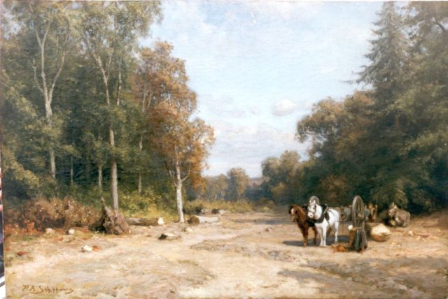 Piet Schipperus | A forest with farmers gathering wood, oil on canvas, 55.7 x 83.0 cm, signed l.l.