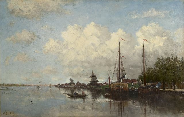 Fredericus Jacobus van Rossum du Chattel | A river view near Rotterdam, oil on canvas, 90.0 x 140.5 cm, signed l.l.