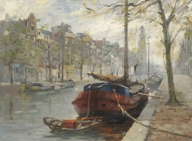 Jan Korthals | View at the Prinsengracht, Amsterdam, oil on canvas, 60.0 x 80.0 cm, signed l.r.