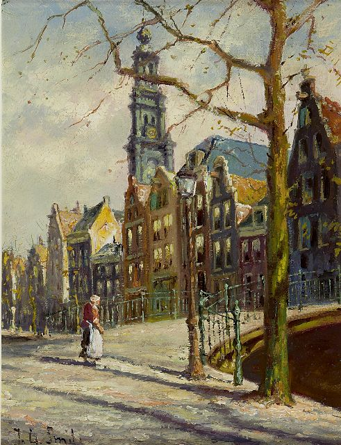 Jan Gerard Smits | The Bloemgracht, Amsterdam, oil on canvas, 24.3 x 18.3 cm, signed l.l.
